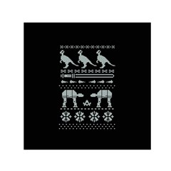 Holiday Party Attire Ugly Christmas Black Background Small Satin Scarf (Square)