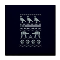 Holiday Party Attire Ugly Christmas Blue Background Tile Coasters