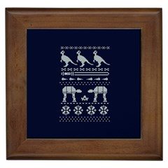 Holiday Party Attire Ugly Christmas Blue Background Framed Tiles