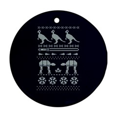 Holiday Party Attire Ugly Christmas Blue Background Ornament (round)