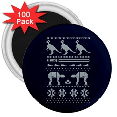 Holiday Party Attire Ugly Christmas Blue Background 3  Magnets (100 pack)