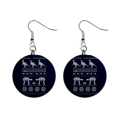 Holiday Party Attire Ugly Christmas Blue Background Mini Button Earrings