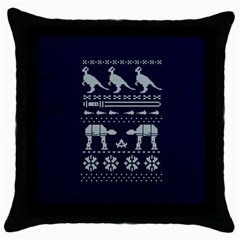 Holiday Party Attire Ugly Christmas Blue Background Throw Pillow Case (Black)