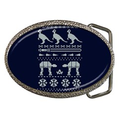 Holiday Party Attire Ugly Christmas Blue Background Belt Buckles