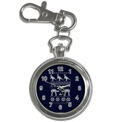 Holiday Party Attire Ugly Christmas Blue Background Key Chain Watches