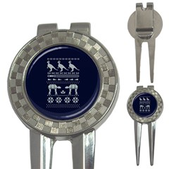 Holiday Party Attire Ugly Christmas Blue Background 3-in-1 Golf Divots