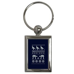 Holiday Party Attire Ugly Christmas Blue Background Key Chains (Rectangle)
