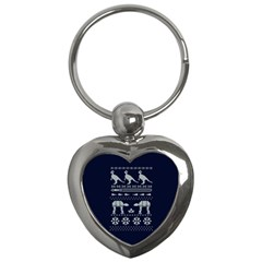 Holiday Party Attire Ugly Christmas Blue Background Key Chains (Heart)