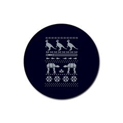 Holiday Party Attire Ugly Christmas Blue Background Rubber Coaster (Round)