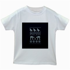 Holiday Party Attire Ugly Christmas Blue Background Kids White T-Shirts