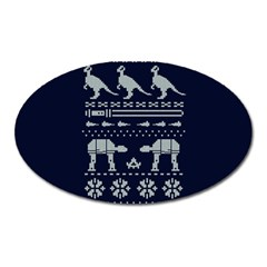 Holiday Party Attire Ugly Christmas Blue Background Oval Magnet