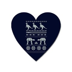 Holiday Party Attire Ugly Christmas Blue Background Heart Magnet