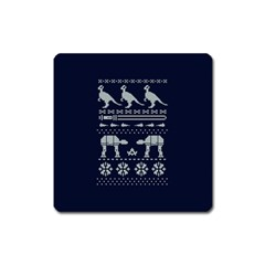 Holiday Party Attire Ugly Christmas Blue Background Square Magnet
