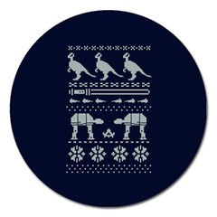 Holiday Party Attire Ugly Christmas Blue Background Magnet 5  (Round)