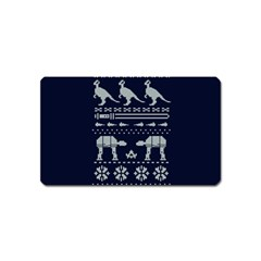 Holiday Party Attire Ugly Christmas Blue Background Magnet (Name Card)