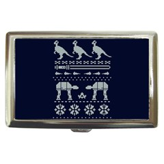 Holiday Party Attire Ugly Christmas Blue Background Cigarette Money Cases