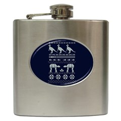 Holiday Party Attire Ugly Christmas Blue Background Hip Flask (6 Oz)