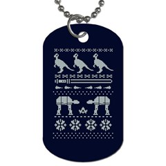 Holiday Party Attire Ugly Christmas Blue Background Dog Tag (Two Sides)