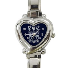 Holiday Party Attire Ugly Christmas Blue Background Heart Italian Charm Watch