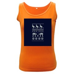 Holiday Party Attire Ugly Christmas Blue Background Women s Dark Tank Top