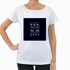 Holiday Party Attire Ugly Christmas Blue Background Women s Loose-Fit T-Shirt (White)