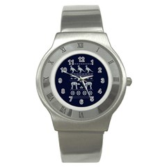 Holiday Party Attire Ugly Christmas Blue Background Stainless Steel Watch