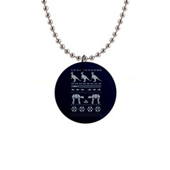Holiday Party Attire Ugly Christmas Blue Background Button Necklaces