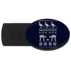 Holiday Party Attire Ugly Christmas Blue Background USB Flash Drive Oval (4 GB)