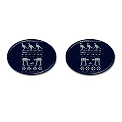 Holiday Party Attire Ugly Christmas Blue Background Cufflinks (oval)