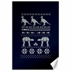 Holiday Party Attire Ugly Christmas Blue Background Canvas 12  x 18