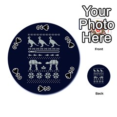 Holiday Party Attire Ugly Christmas Blue Background Playing Cards 54 (round)