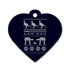 Holiday Party Attire Ugly Christmas Blue Background Dog Tag Heart (One Side)
