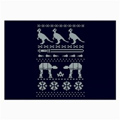 Holiday Party Attire Ugly Christmas Blue Background Large Glasses Cloth (2-Side)
