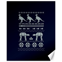 Holiday Party Attire Ugly Christmas Blue Background Canvas 11  x 14