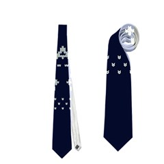 Holiday Party Attire Ugly Christmas Blue Background Neckties (Two Side)