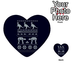 Holiday Party Attire Ugly Christmas Blue Background Multi-purpose Cards (Heart)