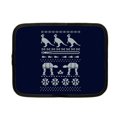 Holiday Party Attire Ugly Christmas Blue Background Netbook Case (Small)