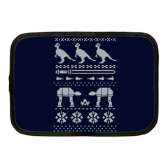 Holiday Party Attire Ugly Christmas Blue Background Netbook Case (Medium)