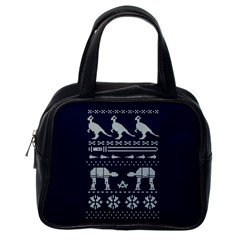 Holiday Party Attire Ugly Christmas Blue Background Classic Handbags (One Side)