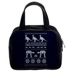 Holiday Party Attire Ugly Christmas Blue Background Classic Handbags (2 Sides)
