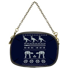 Holiday Party Attire Ugly Christmas Blue Background Chain Purses (Two Sides)