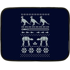 Holiday Party Attire Ugly Christmas Blue Background Fleece Blanket (Mini)