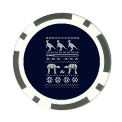 Holiday Party Attire Ugly Christmas Blue Background Poker Chip Card Guards (10 pack)
