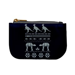 Holiday Party Attire Ugly Christmas Blue Background Mini Coin Purses