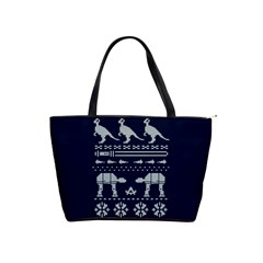 Holiday Party Attire Ugly Christmas Blue Background Shoulder Handbags