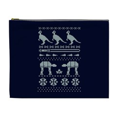 Holiday Party Attire Ugly Christmas Blue Background Cosmetic Bag (XL)