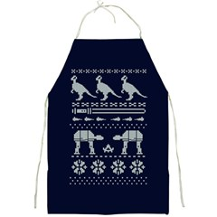 Holiday Party Attire Ugly Christmas Blue Background Full Print Aprons