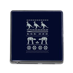 Holiday Party Attire Ugly Christmas Blue Background Memory Card Reader (Square)