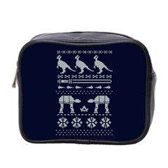 Holiday Party Attire Ugly Christmas Blue Background Mini Toiletries Bag 2-Side