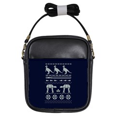 Holiday Party Attire Ugly Christmas Blue Background Girls Sling Bags